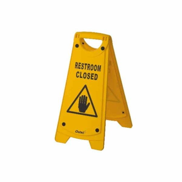 A Frame Sign Rest Room Closed Yellow Iw