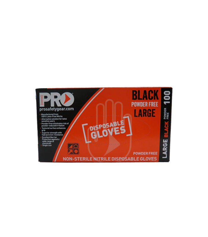 Prochoice Black Nitrile Disposable Gloves Large