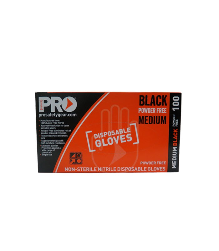 Prochoice Black Nitrile Disposable Gloves Medium