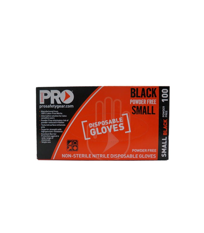 Prochoice Black Nitrile Disposable Gloves Small