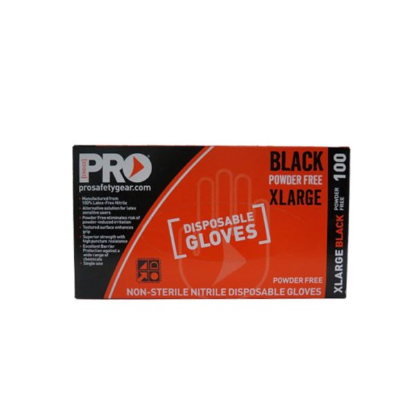 Prochoice Black Nitrile Disposable Gloves Xlarge
