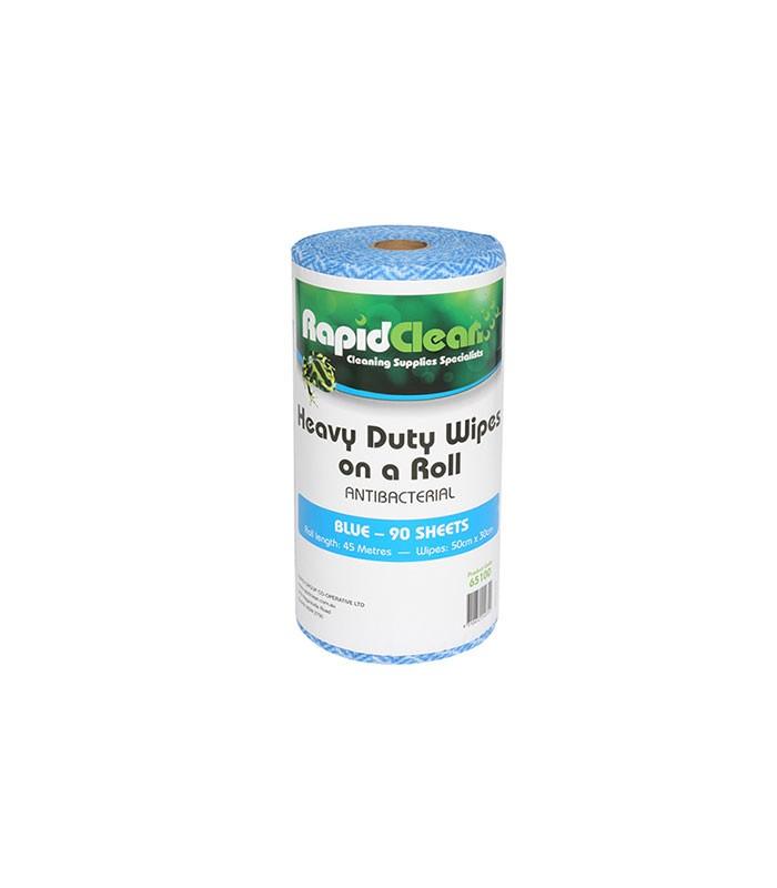 Rapidlcean Heavy Duty Wipes On A Roll Blue
