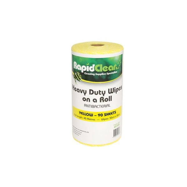 Rapidlcean Heavy Duty Wipes On A Roll Yellow
