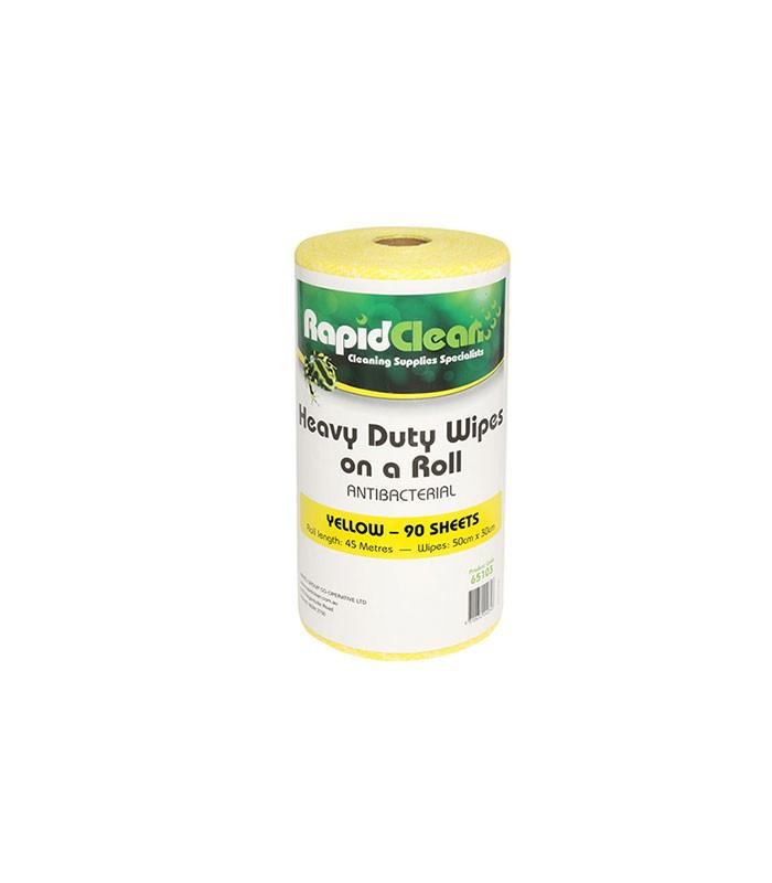 Rapidlcean Heavy Duty Wipes On A Roll Yellow