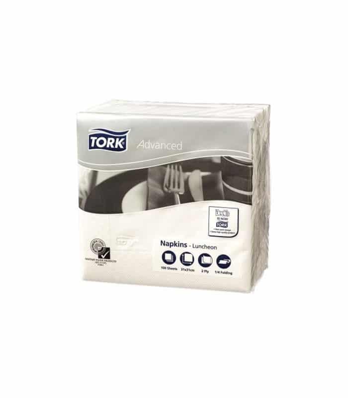 Tork Advanced Ply White Luncheon Napkins
